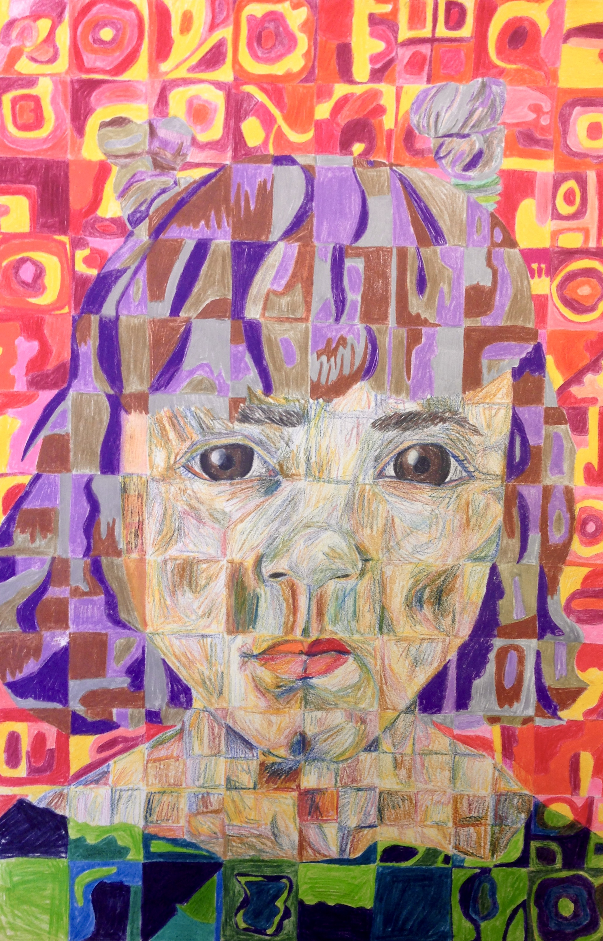 A Close Up Of Bad Makeup: Chuck Close Style Self Portrait By The 8th Grade